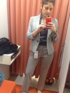 here's a summer suit I didn't get, because it was too light. Fitting room photos!